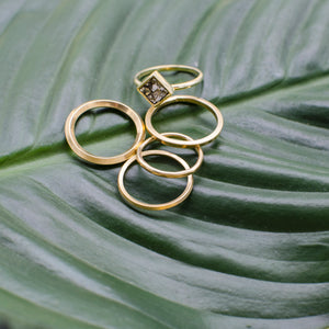Stacker Set with Square Pyrite Ring