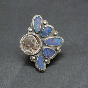 Australian Opal Buffalo Nickel Ring