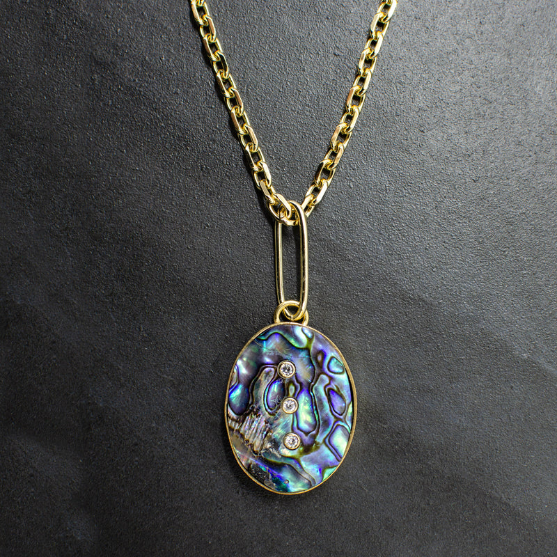 3 Stone Abalone Necklace