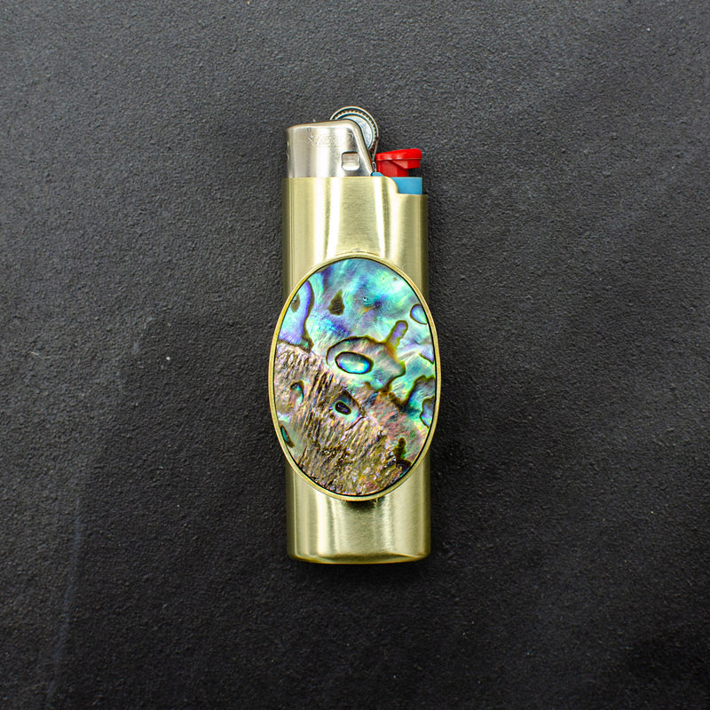 Oval Abalone Lighter Case