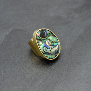 Abalone  and White Sapphire Ring