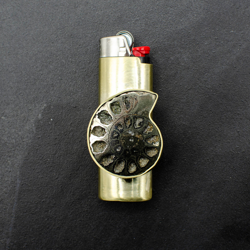 Pyrite Ammonite lighter Case