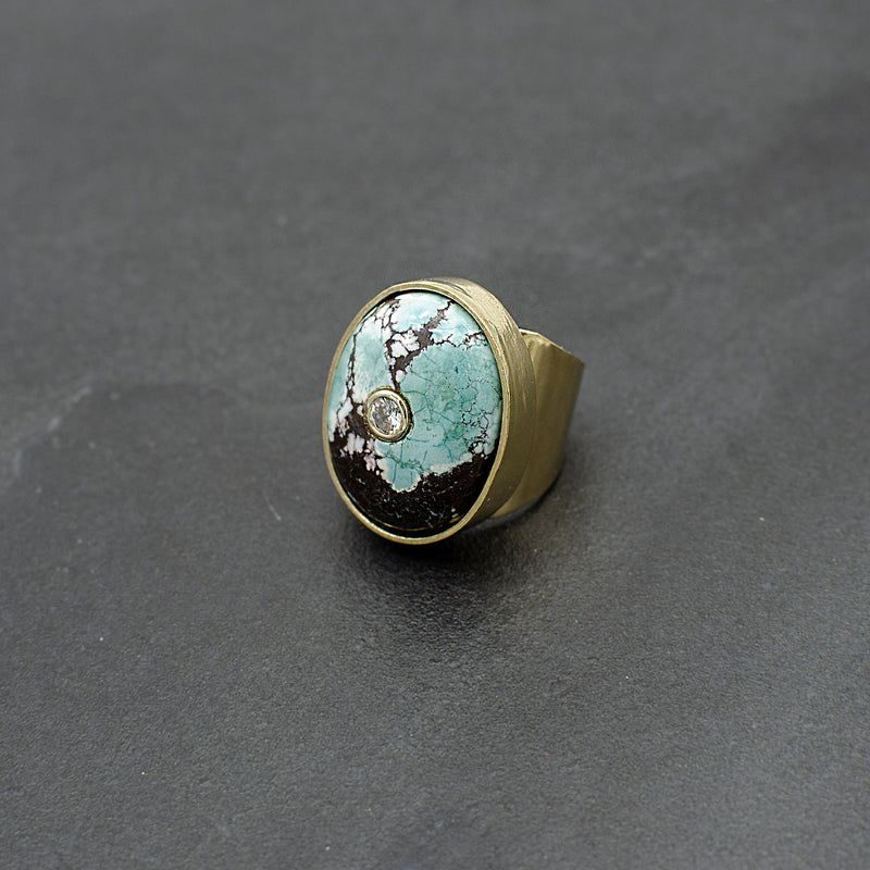 Turquoise and White Sapphire Ring