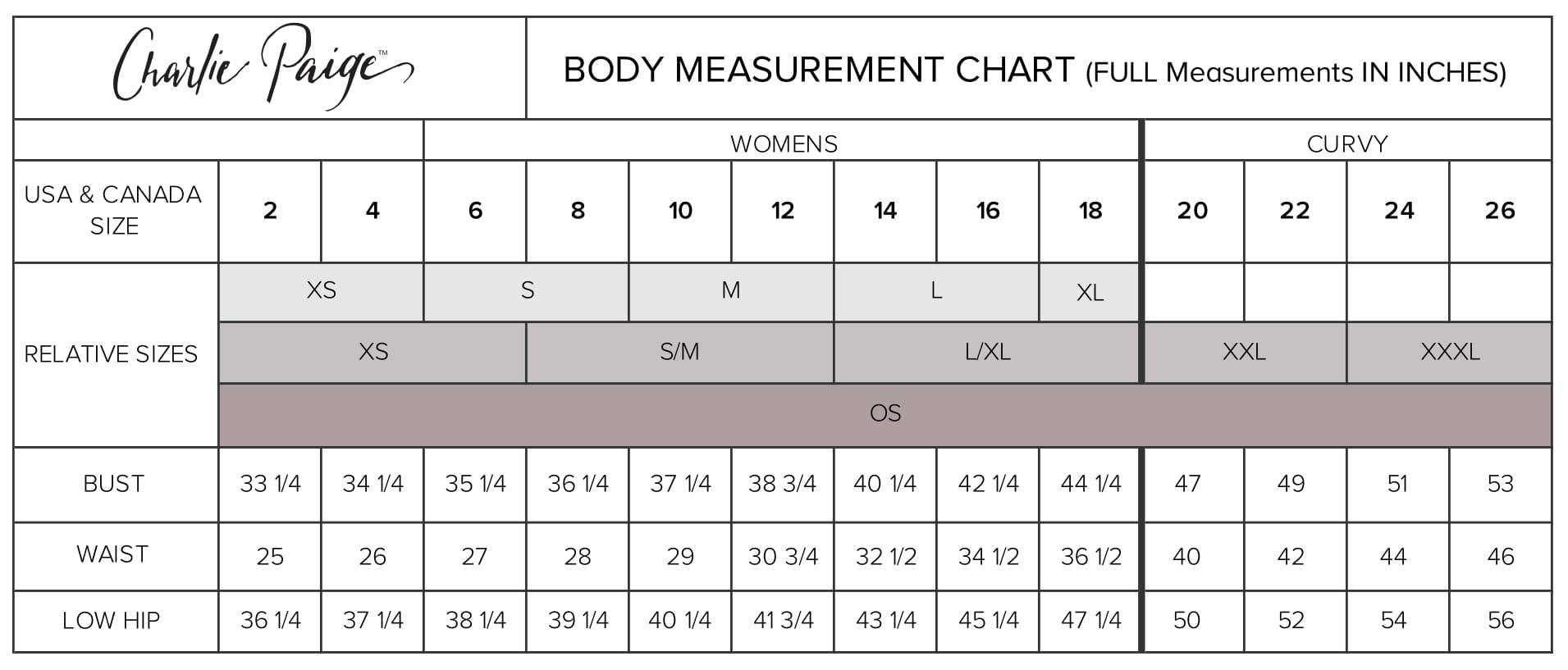 Charlie Paige Sizing Chart
