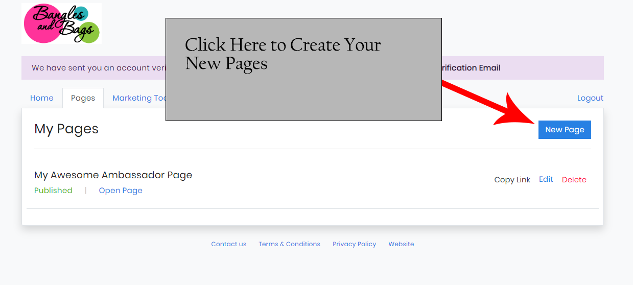 Click the Create a New Page Link