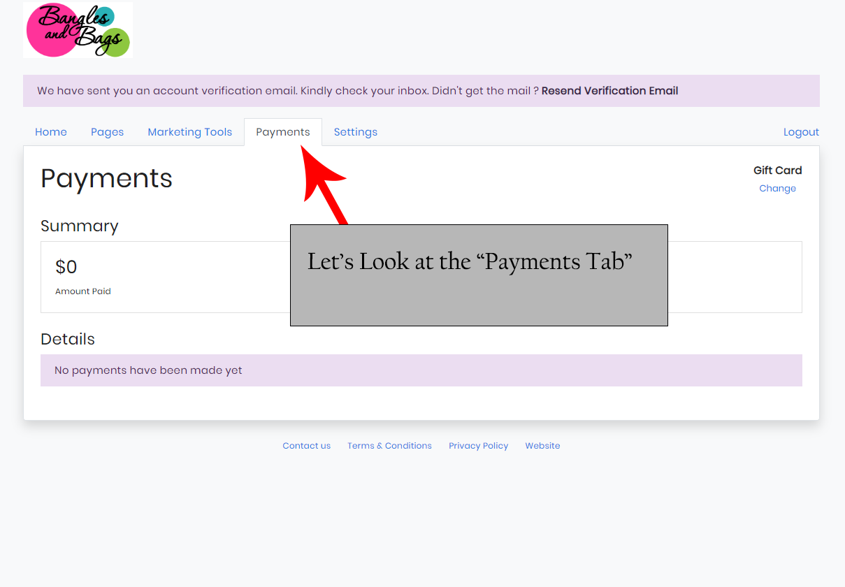 The Payments Tab