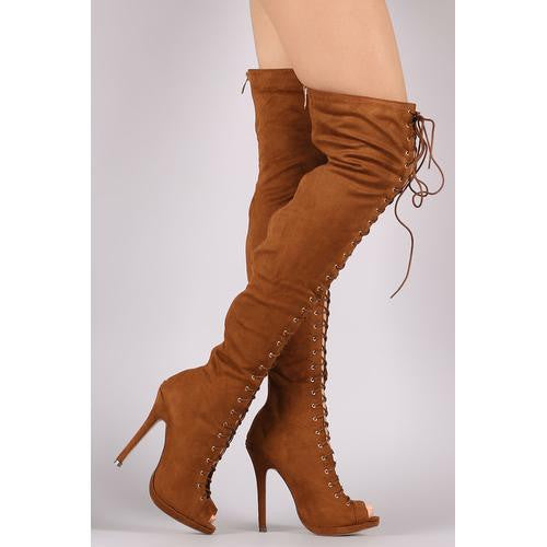 b5fe1c7a865 Liliana Suede Lace Up Stiletto Heeled Over-The-Knee Boots