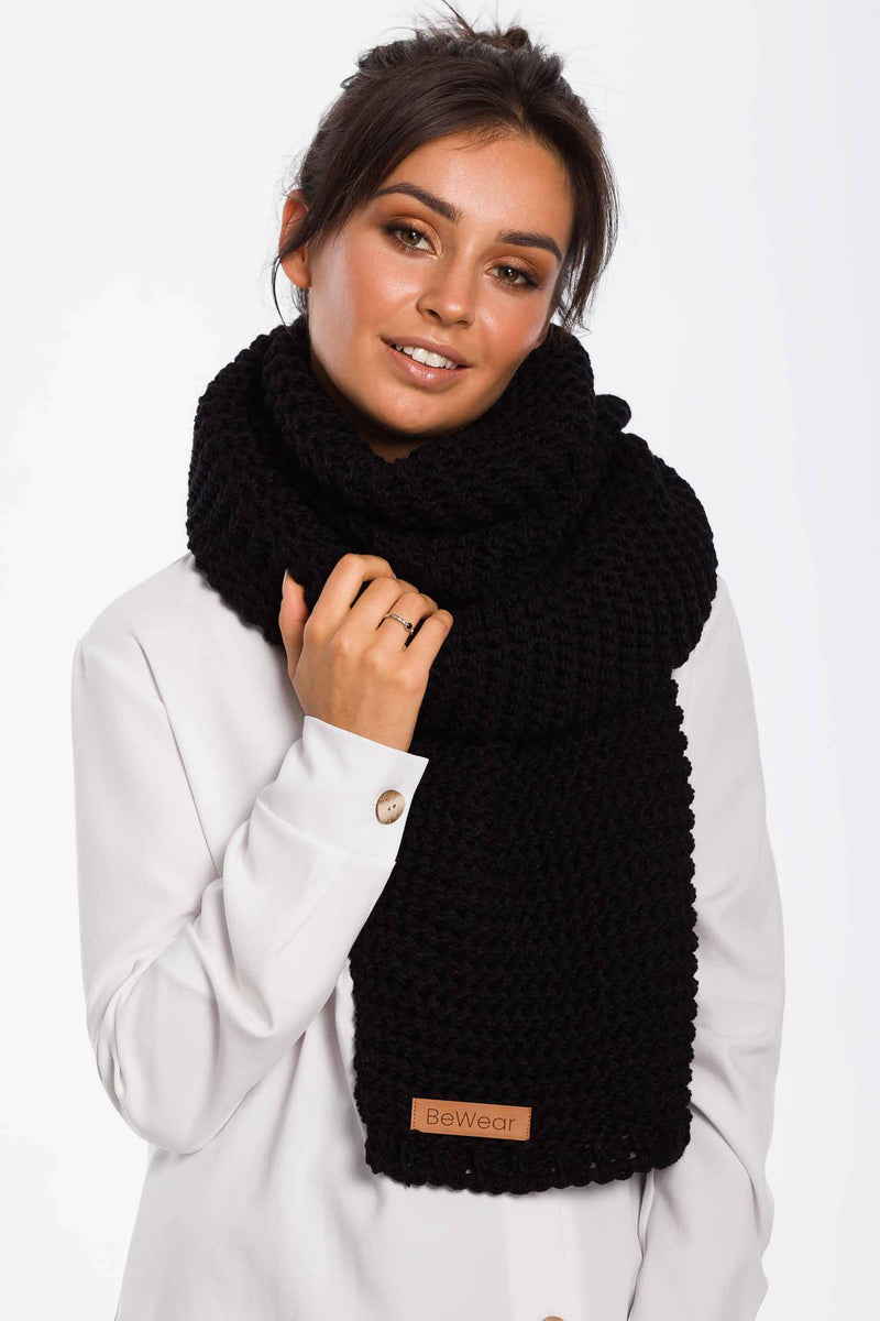 Black Long Winter Scarf With Logo Batch - So Chic Boutique