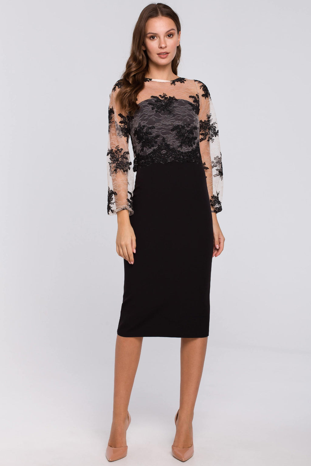 Black Pencil Dress With Guipure Lace Overlay Top - So Chic Boutique