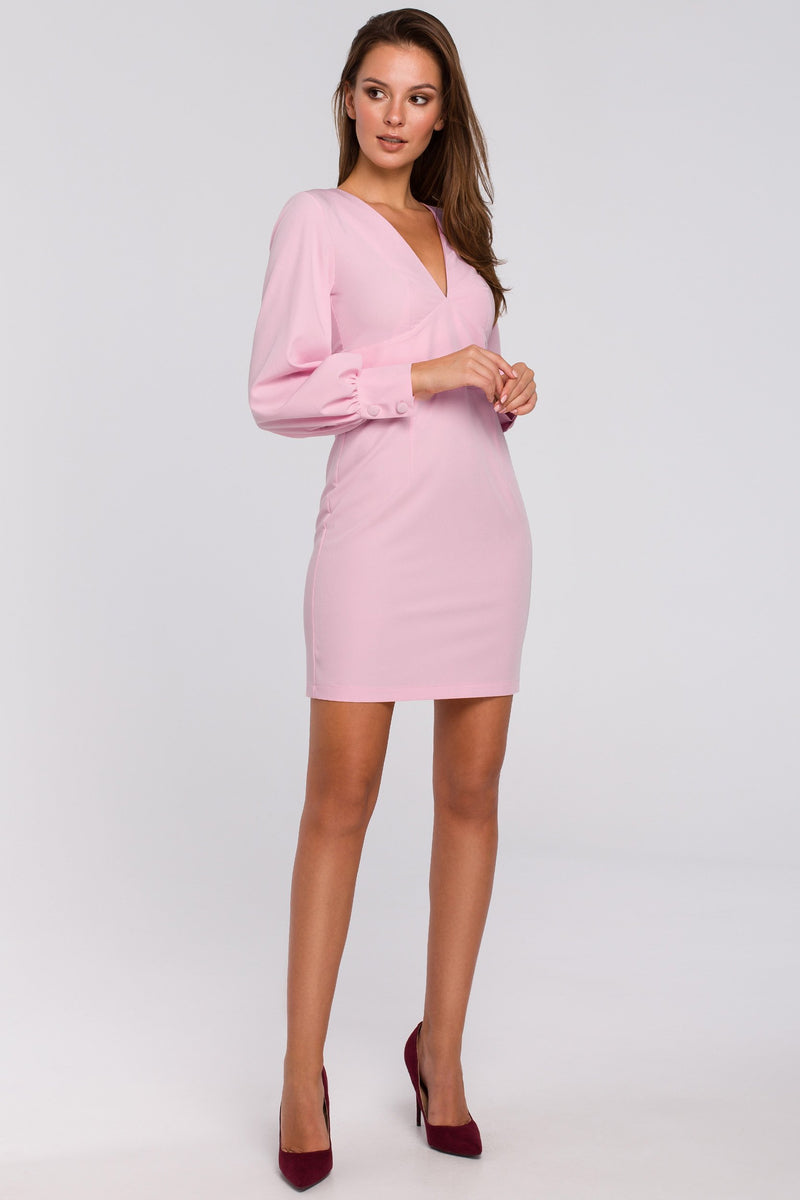 Mini Powder Pink Dress With Puff Long Sleeves - So Chic Boutique
