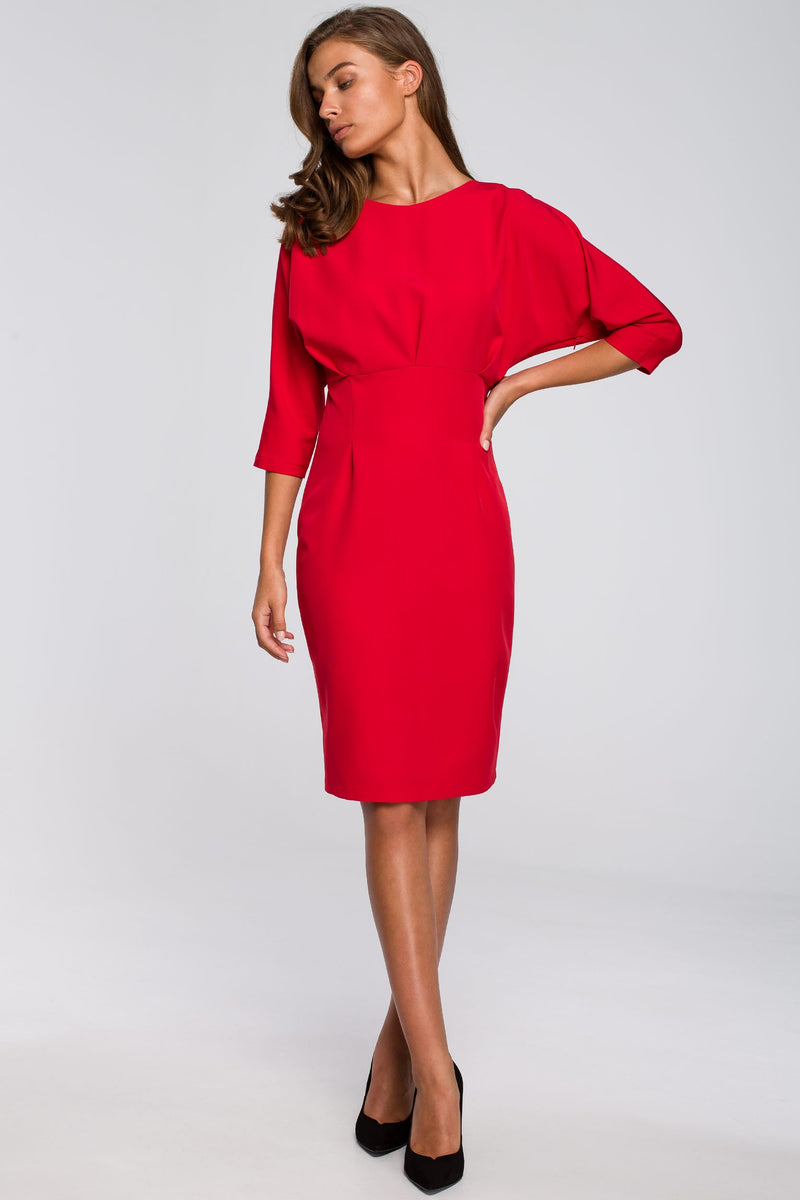 Pencil Red Dress With Fitted Waist And Kimono Top - So Chic Boutique