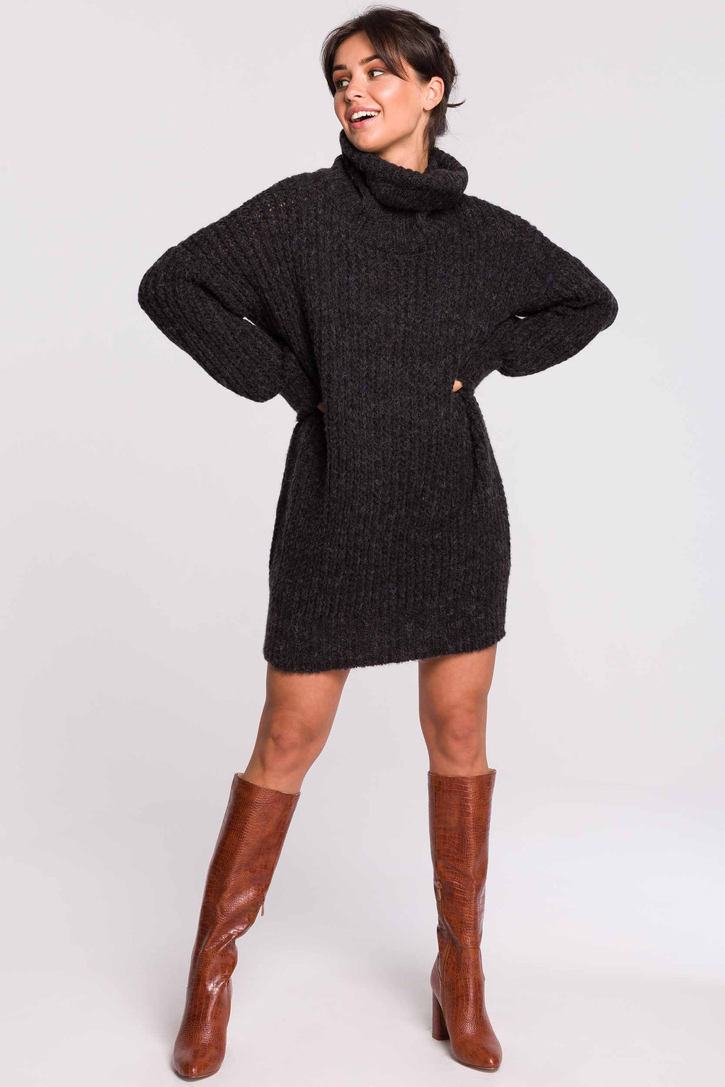 Anthracite Turtleneck Sweater Dress - So Chic Boutique
