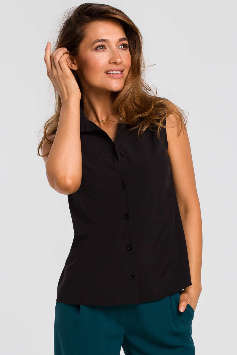 Silky Black Sleeveless Shirt - So Chic Boutique