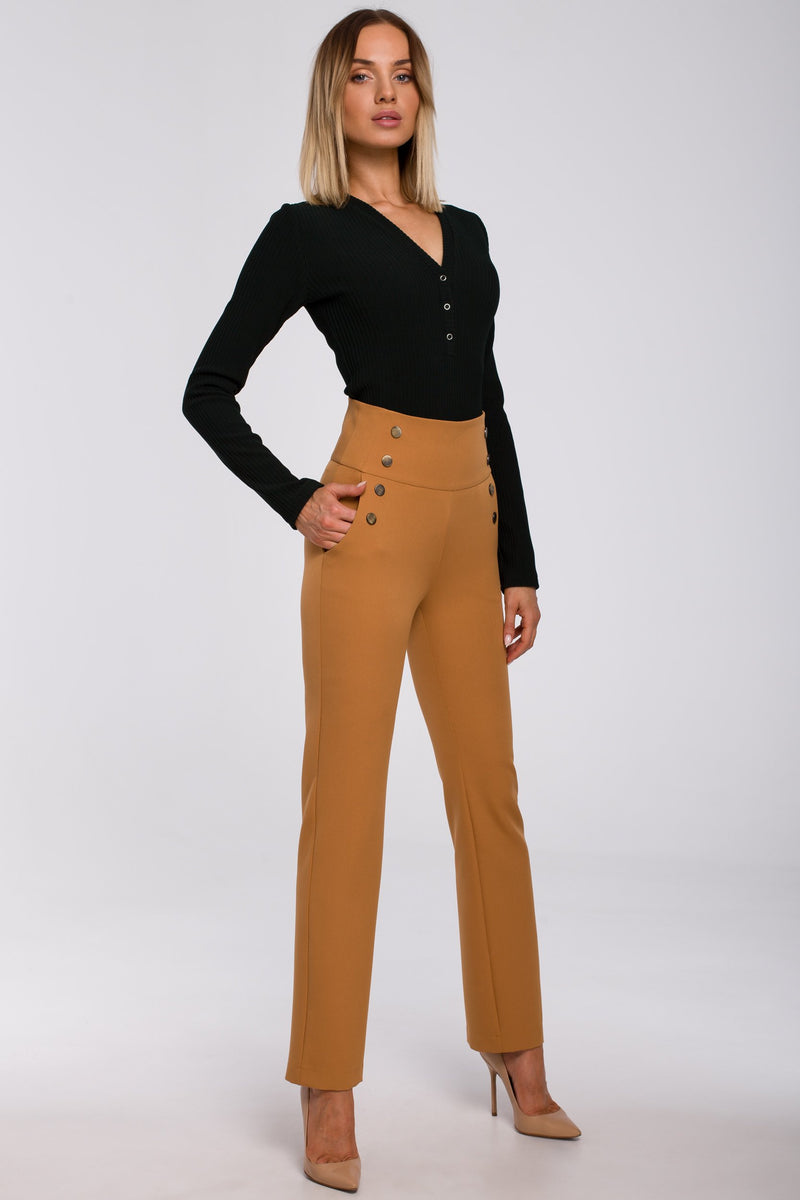 High Waist Cinnamon Trousers With Decorative Side Press Studs - So Chic Boutique