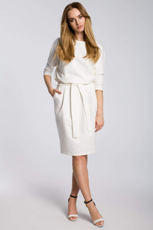 Soft Cotton Midi Ecru Dress With A Belt - So Chic Boutique