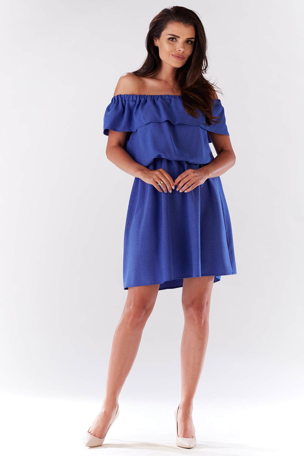 Mini Blue Off The Shoulder Linen Dress With Elastic Waist (9232567434)