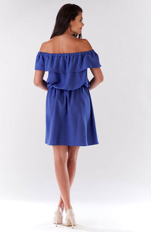 Mini Blue Off The Shoulder Dress With Elastic Waist