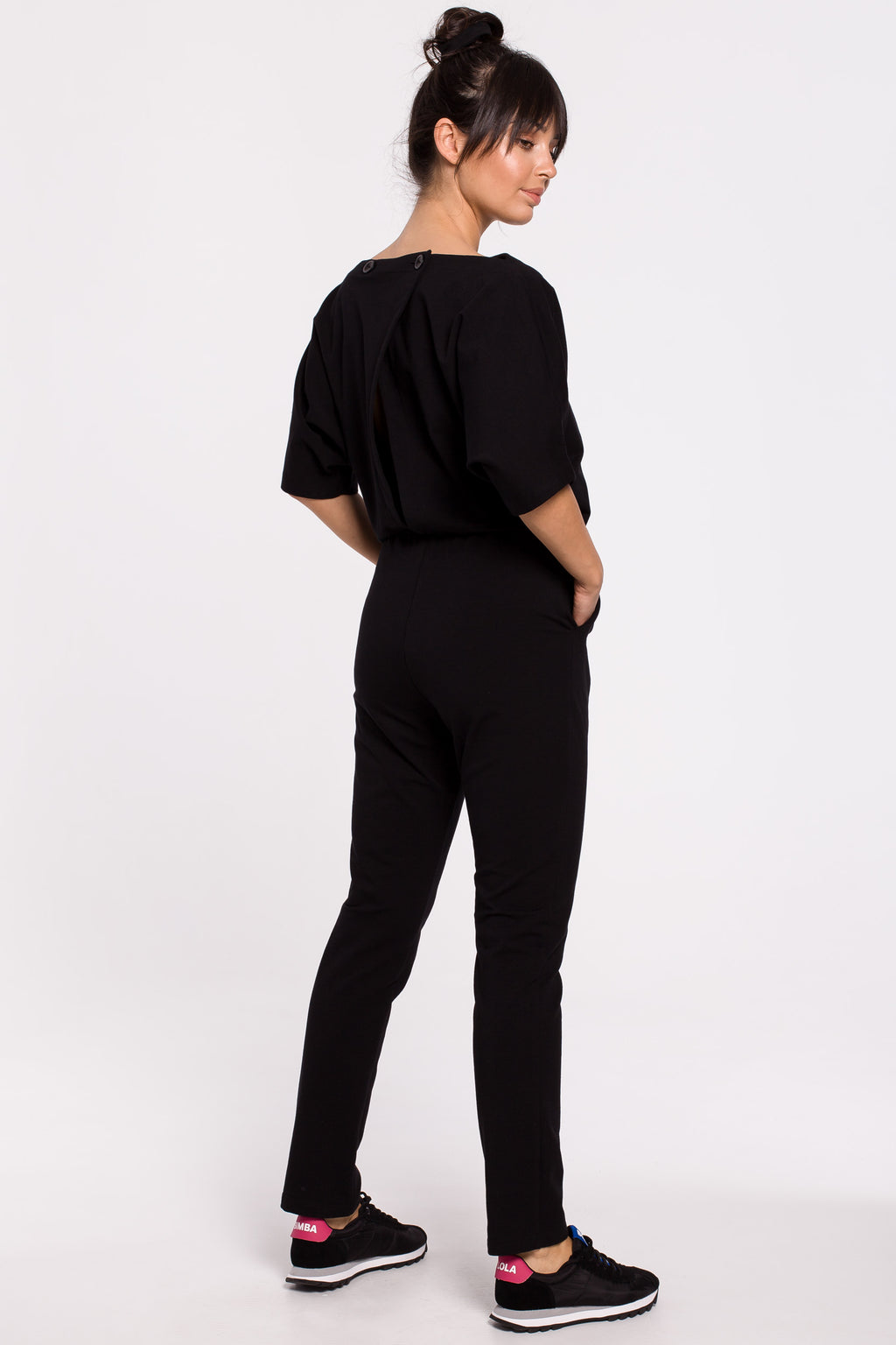 Black Jumpsuit With Kimono Top And Chino Trousers - So Chic Boutique