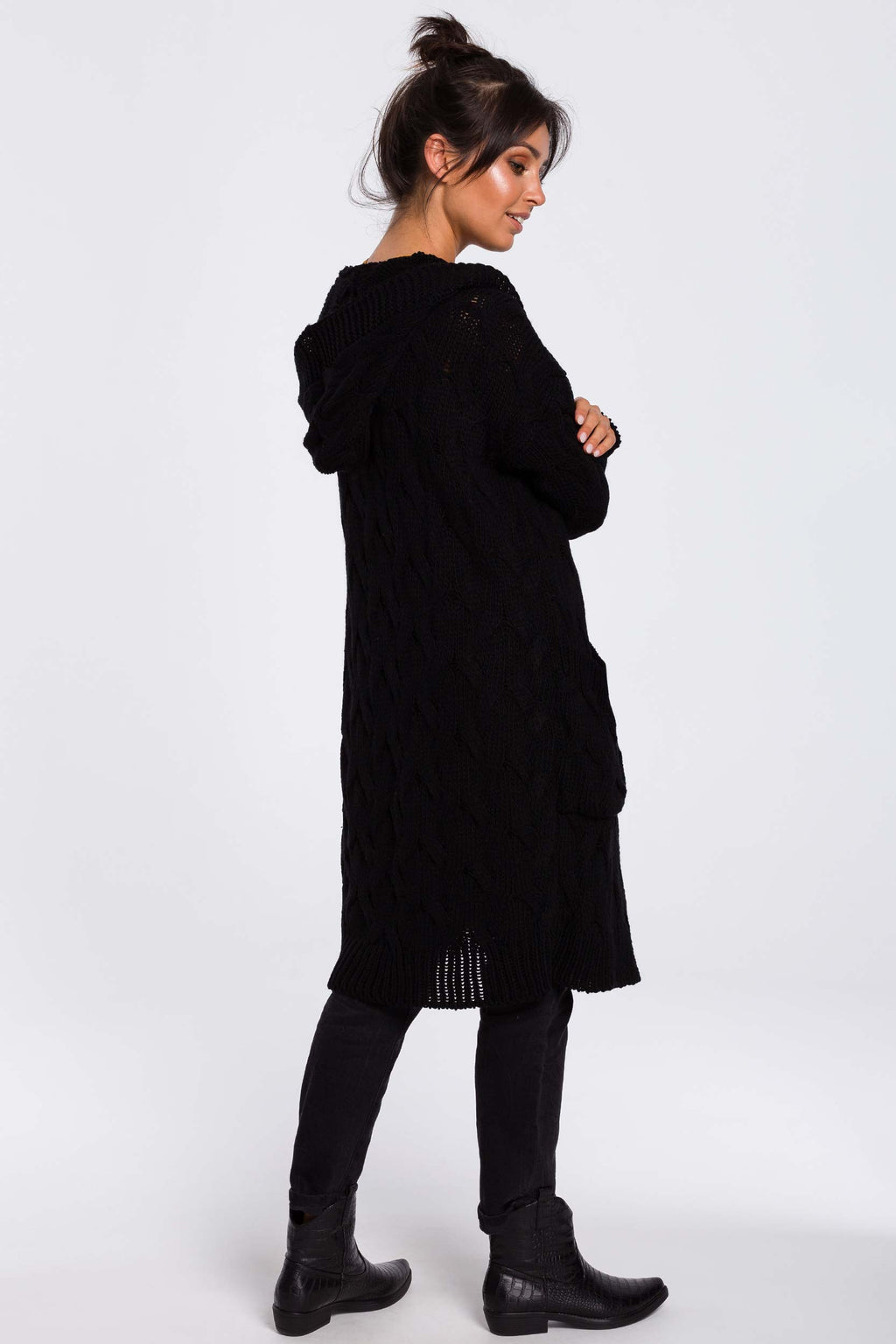 Black Long Plaited Hood Cardigan With Patch Pockets - So Chic Boutique