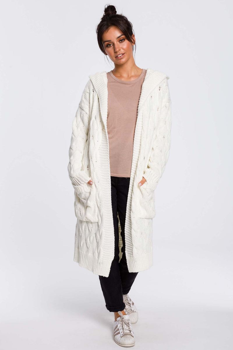 Ecru Long Plaited Hood Cardigan With Patch Pockets - So Chic Boutique