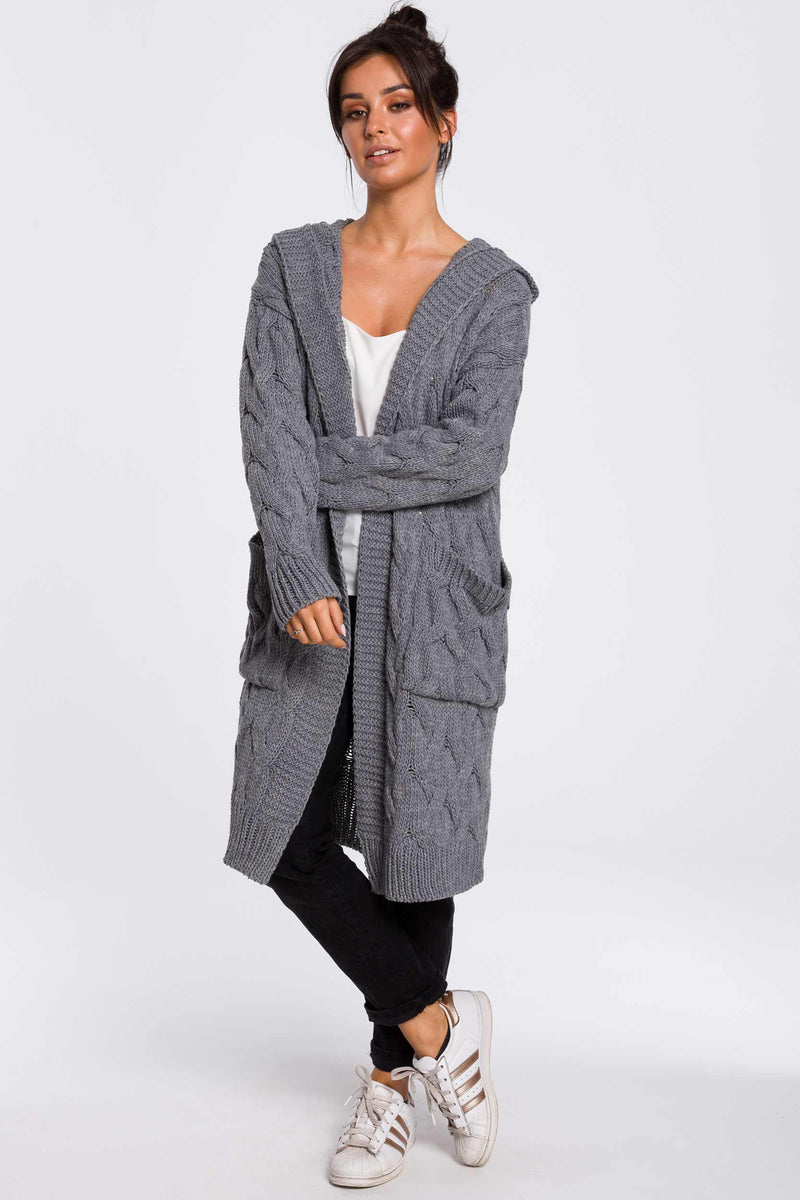 Grey Long Plaited Hood Cardigan With Patch Pockets - So Chic Boutique