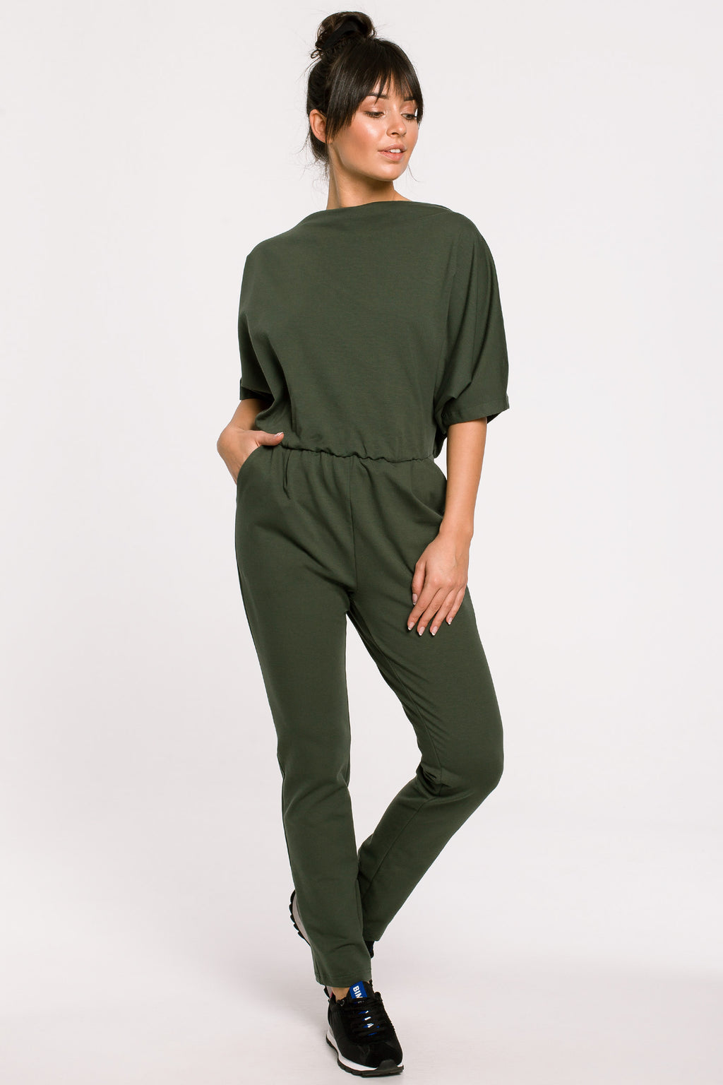 Khaki Jumpsuit With Kimono Top And Chino Trousers - So Chic Boutique