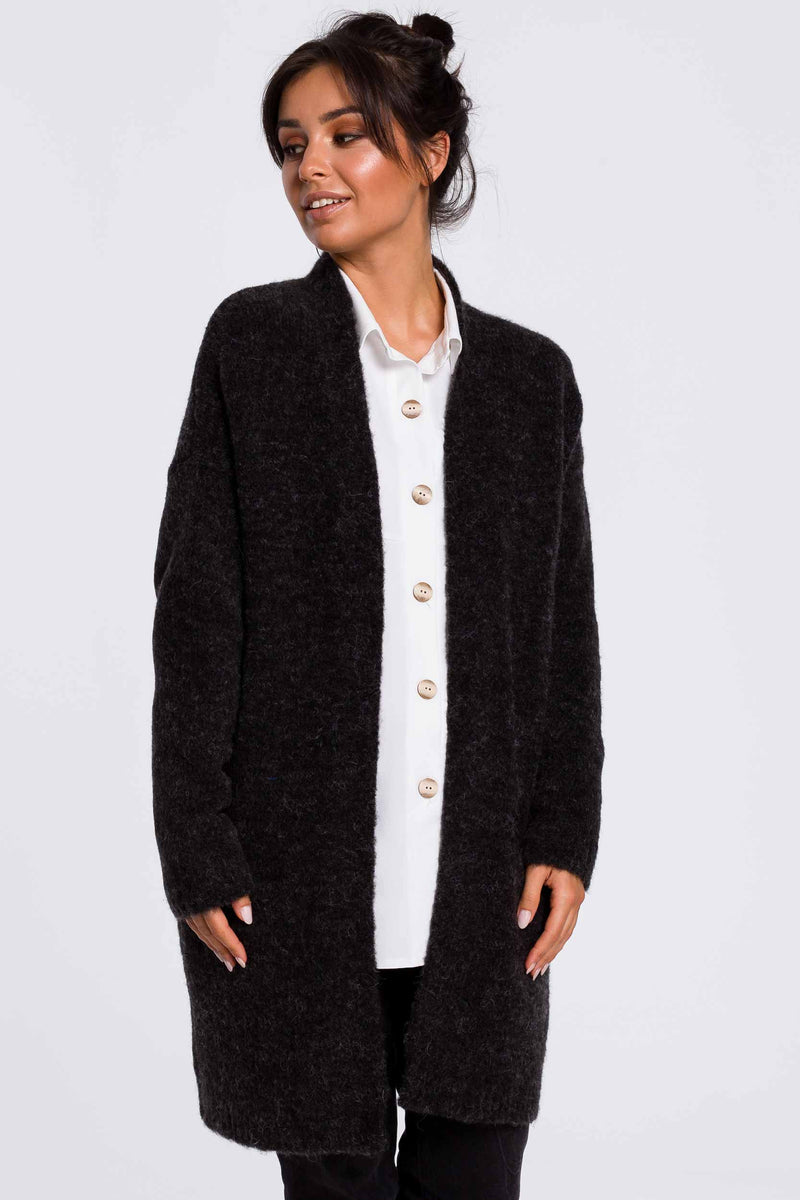 Anthracite Fuzzy Cardigan With Pockets - So Chic Boutique