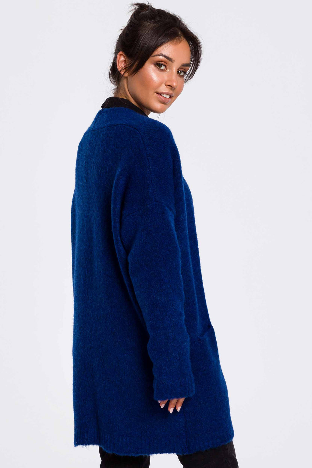 Blue Fuzzy Cardigan With Pockets - So Chic Boutique