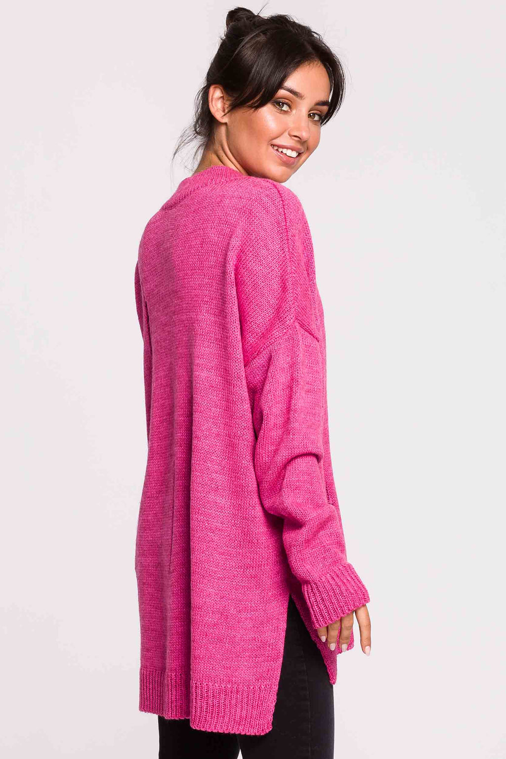 Fuchsia Distressed Oversize V Sweater - So Chic Boutique