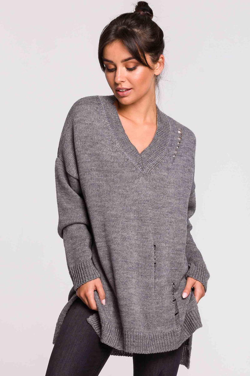 Grey Distressed Oversize V Sweater - So Chic Boutique