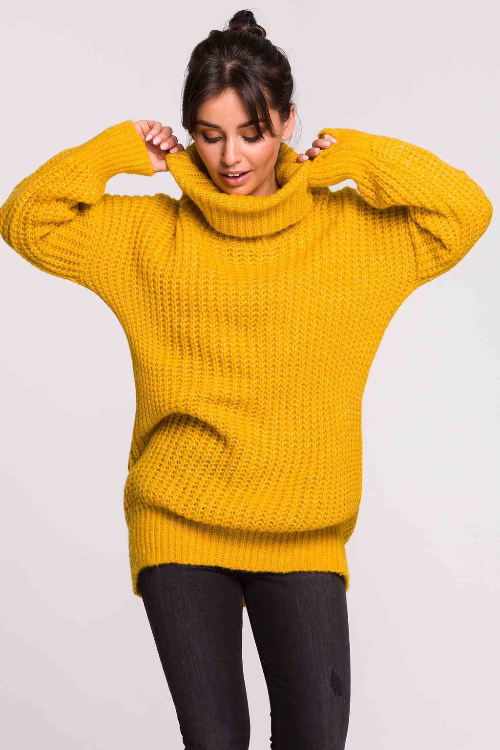 Honey Mustard Turtleneck Sweater Dress - So Chic Boutique