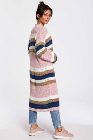 Powder Pink With Multicolor Stripes Long Cardigan - So Chic Boutique