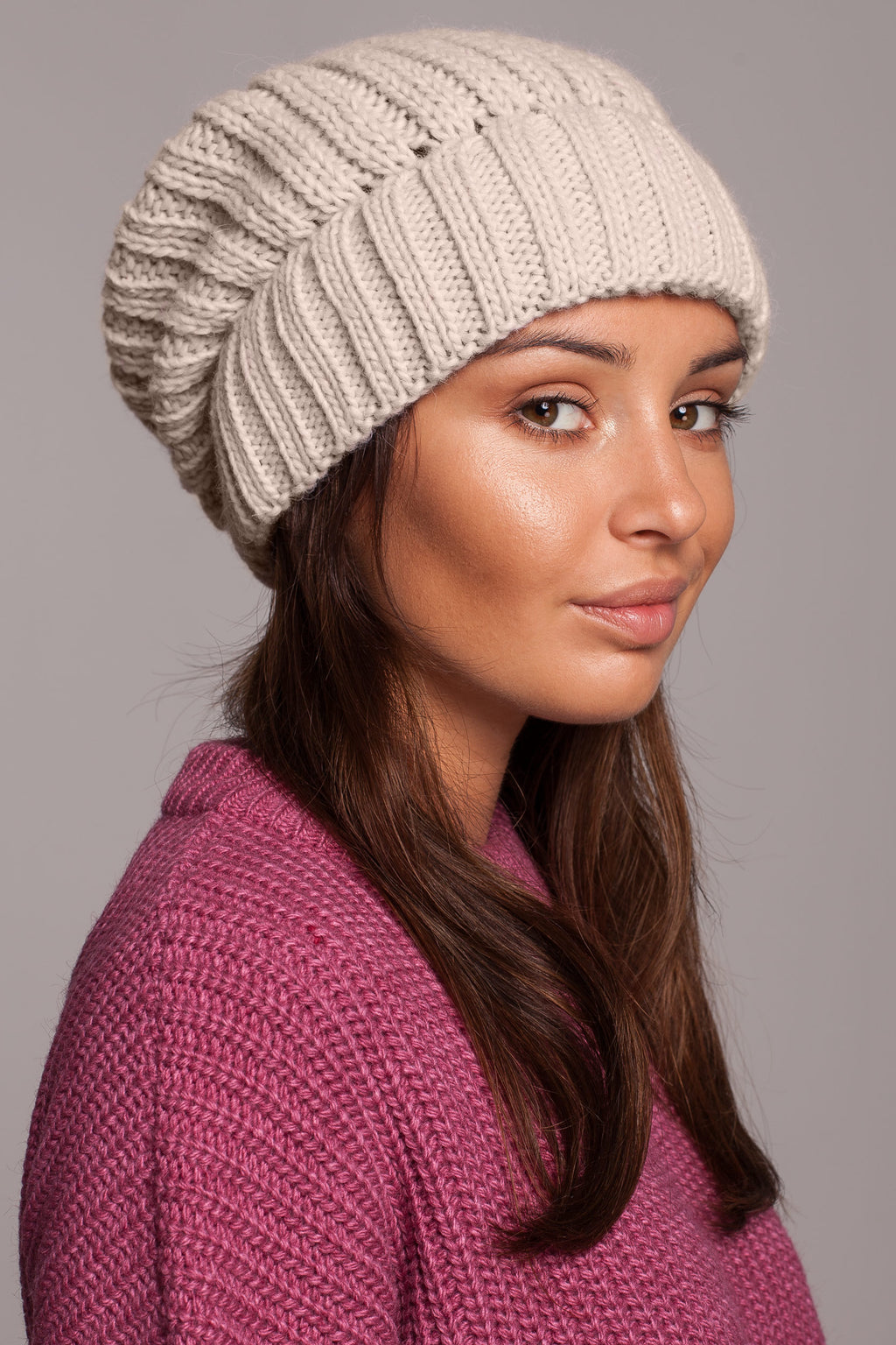 Beige Knit Ribbed Beanie - So Chic Boutique