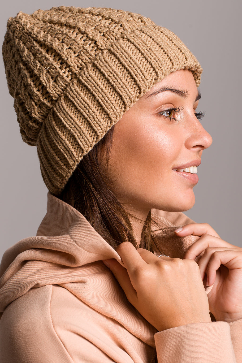 Camel Cable Knit Beanie - So Chic Boutique