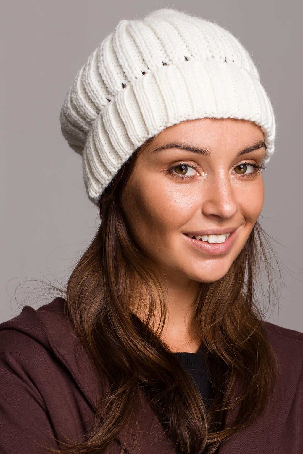 Ecru Knit Ribbed Beanie - So Chic Boutique