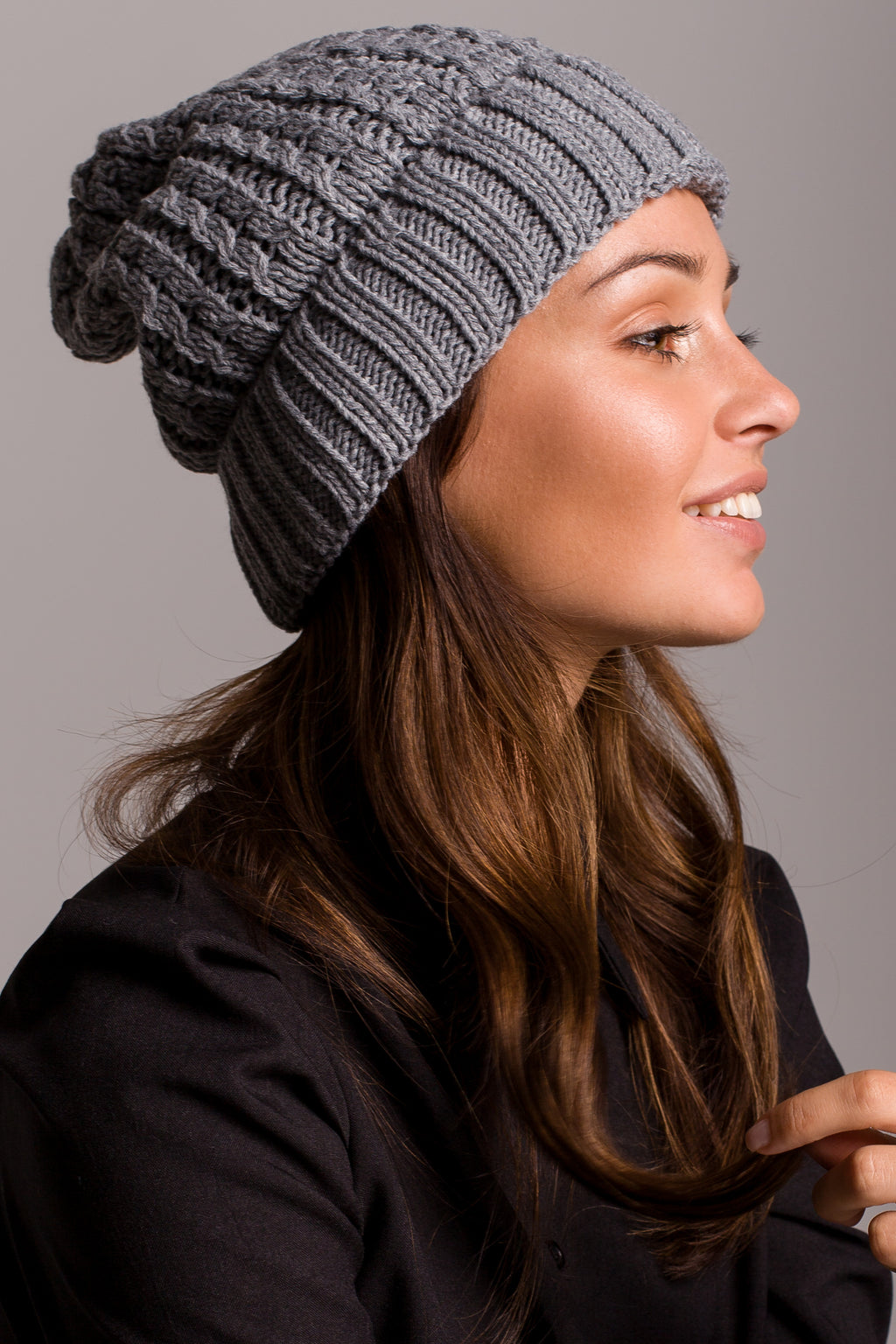 Grey Cable Knit Beanie - So Chic Boutique