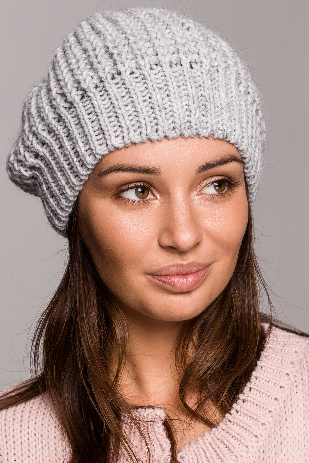Grey Knit Beret - So Chic Boutique