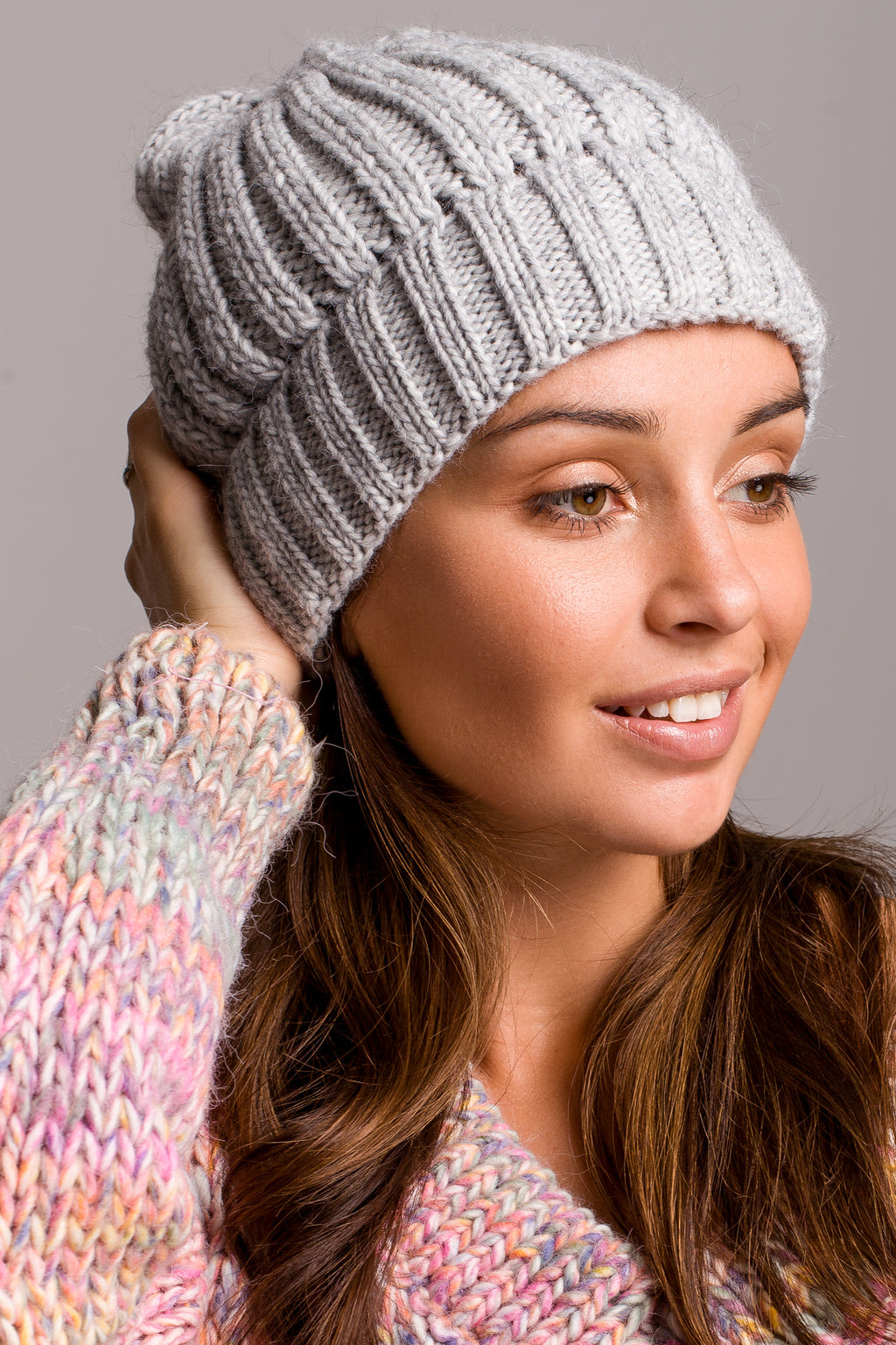 Grey Knit Ribbed Beanie - So Chic Boutique