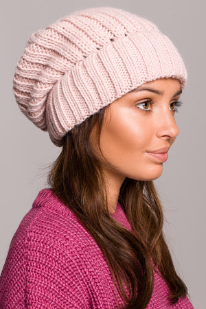 Light Pink Knit Ribbed Beanie - So Chic Boutique