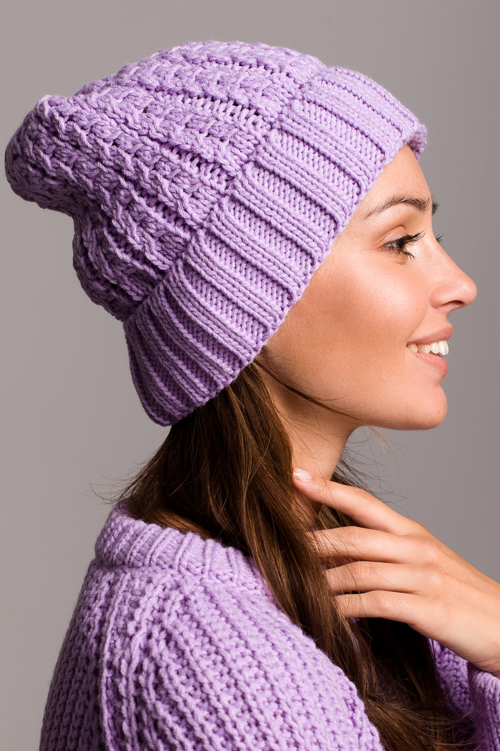 Lilac Cable Knit Beanie - So Chic Boutique
