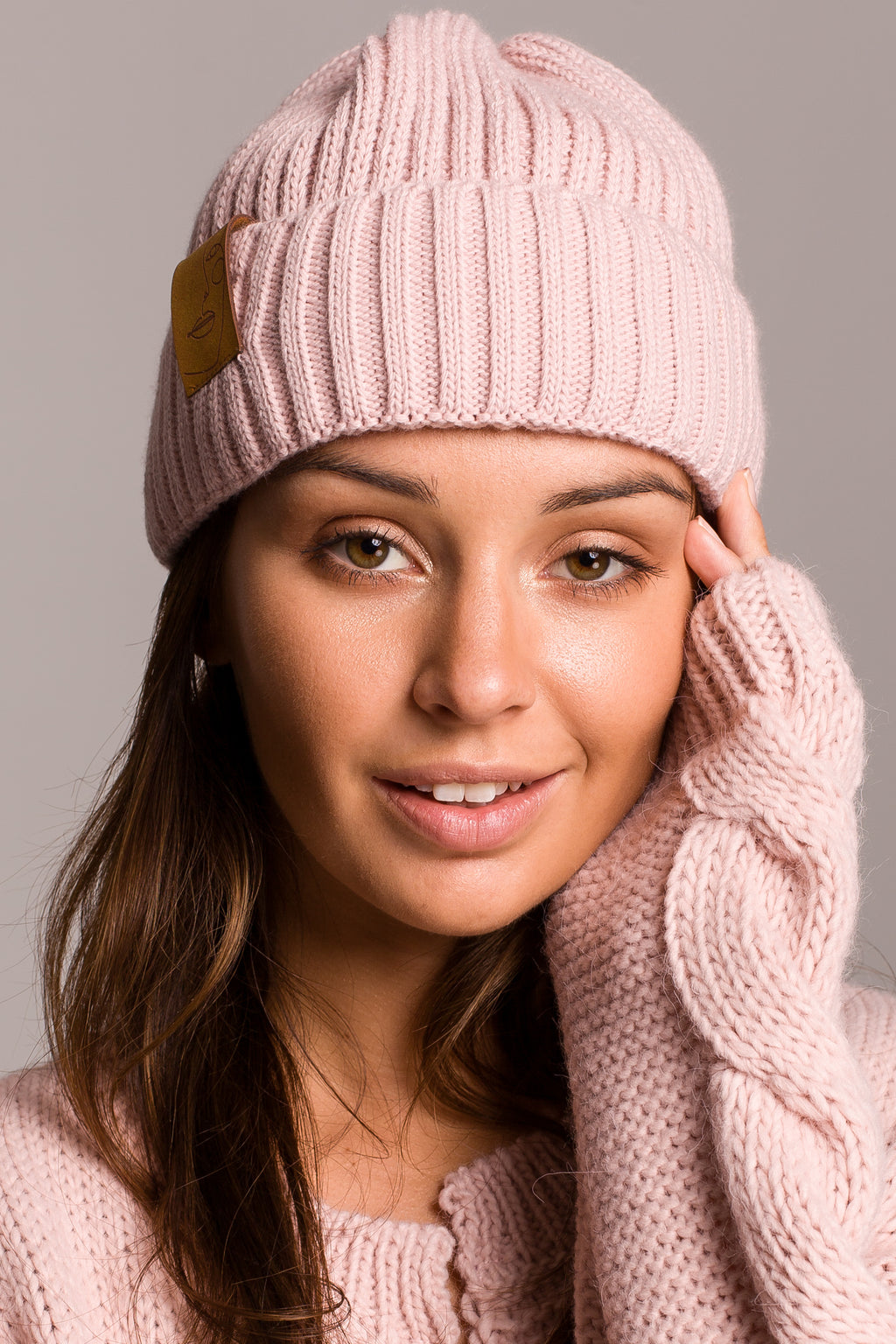 Pink Knit Ribbed Beanie With A Faux Leather Badge - So Chic Boutique