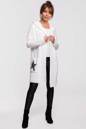 Star Motif Ecru Hooded Cardigan - So Chic Boutique