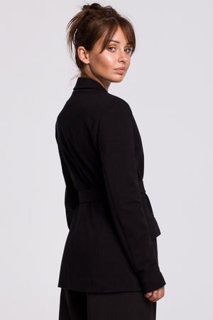 Black Cotton Blazer With A Buckle Belt - So Chic Boutique