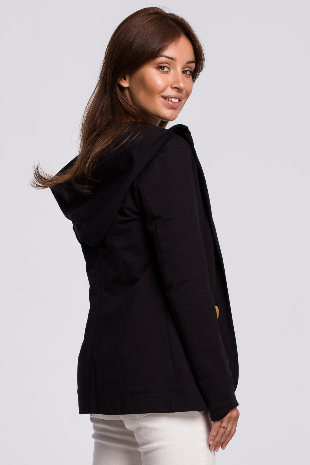 Black Cotton Jacket With A Hood - So Chic Boutique