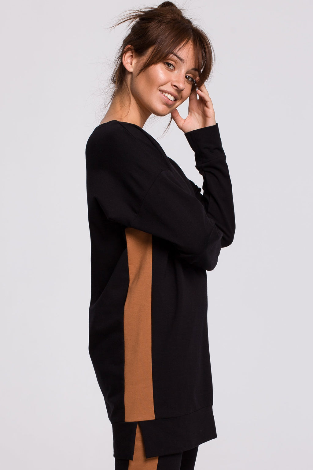 Black Cotton Long Sweatshirt With Side Stripe - So Chic Boutique