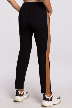 Black Cotton Trousers With Side Stripe - So Chic Boutique