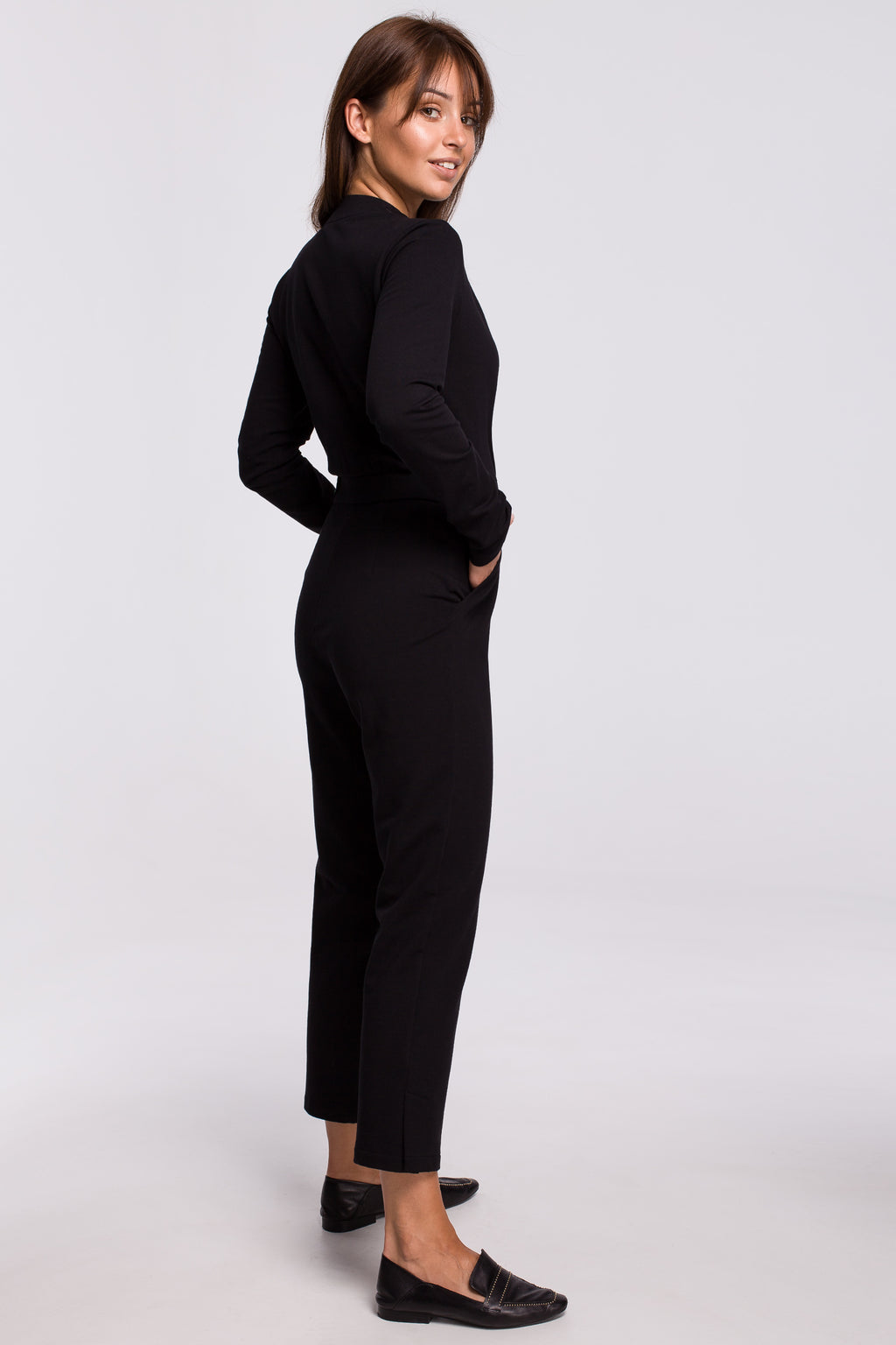 Black Wrap Front Top Jumpsuit With A Buckle - So Chic Boutique