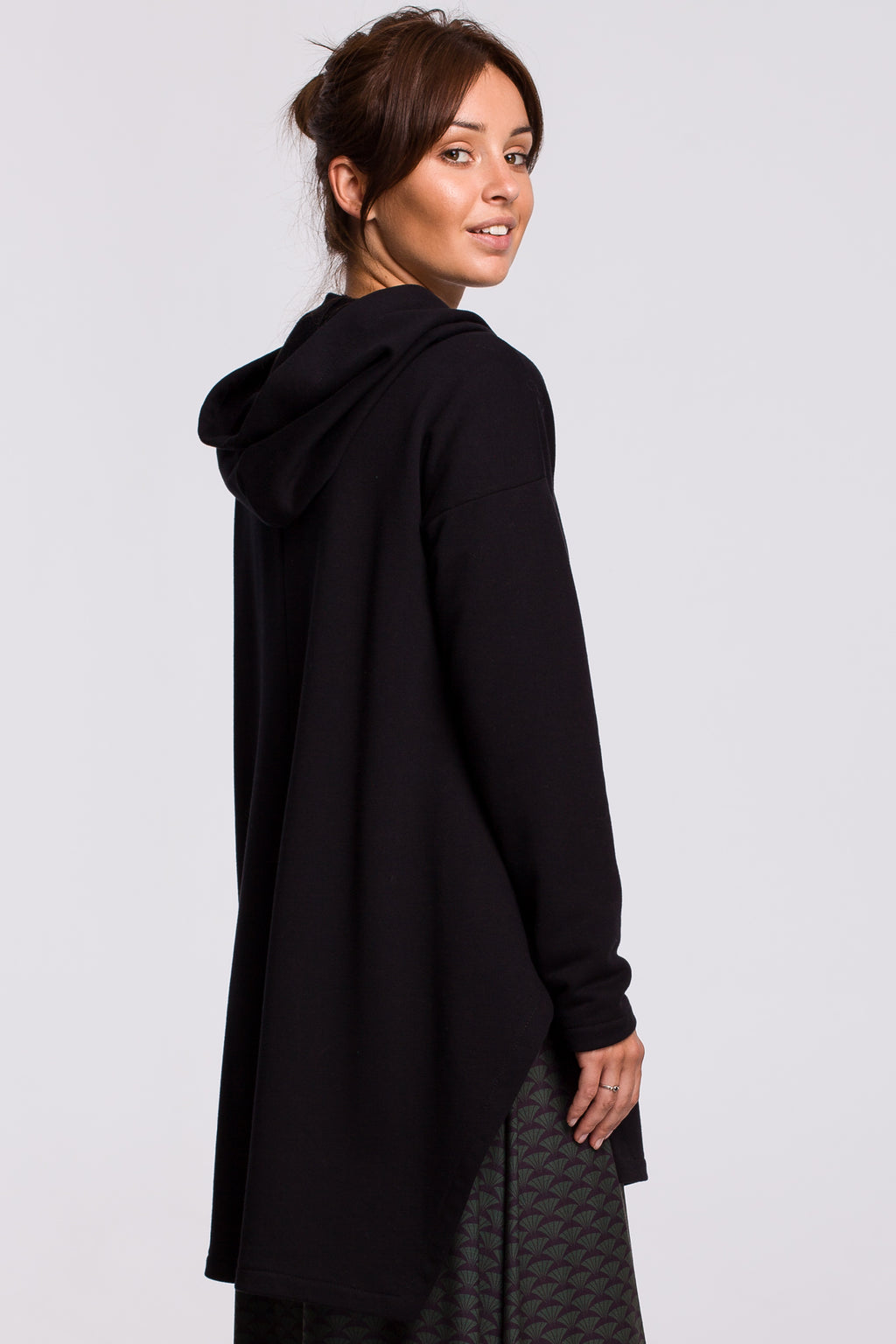 Black Long Hooded Sweatshirt With A Slit - So Chic Boutique