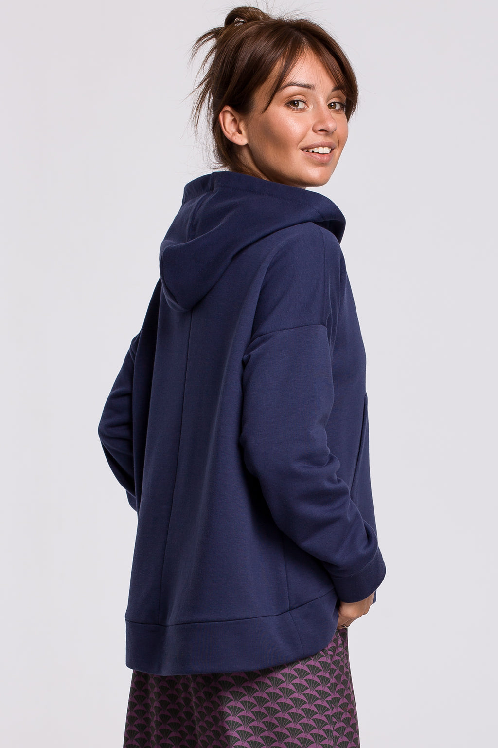 Blue Hooded Sweatshirt With A Zip Neckline And Kangaroo Pocket - So Chic Boutique