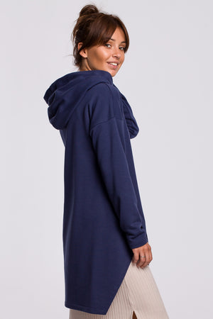 Blue Long Hooded Sweatshirt With A Slit - So Chic Boutique
